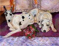 Dog Painting of Anna and Flash, two gorgeous Great Danes