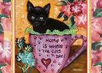"Brock - Black kitty in cup ""Home is where the cats are"""