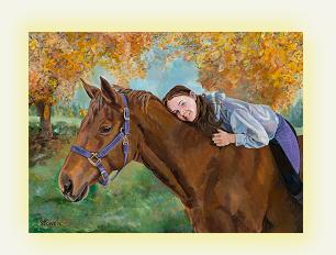 Equine horse painting by Connie Bowen of Kerryl and her horse Harmony. This horse portrait features a fall background