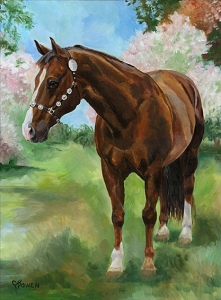 Lew is a horse standing among the spring blossoms