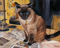 Custom cat portrait painting by Connie Bowen of a Siamese cat named Lucky. He is a help in the kitchen. Siamese cats love to state their opinions on everything!