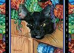 Black kitten munching on a brown paper box filled with brightly colored yarn
