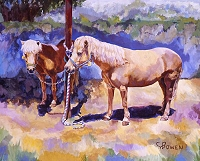 Equine horse painting by Connie Bowen of Tinkerbell and Pixidust, small horses. Small horses are even used for therapy work!
