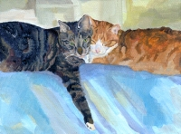 Custom cat portrait painting by Connie Bowen of Whisk and Sherlock, a grey tabby and an orange tabby who are best friends