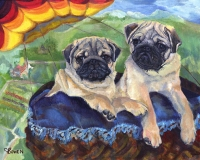 Dog Painting by Connie Bowen of Claire and Macaroon, two adorable Pug puppies. These fawn pugs are puglicious!