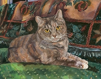 Custom cat portrait painting by Connie Bowen of Daisy, a beautiful classic brown tabby cat. Tabby cats love to lounge with their families!