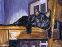 "Custom cat portrait painting by Connie Bowen of TT, a black cat. His name stands for ""Tiny Terror"". Black kittens are very fun to paint!"