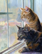 Custom cat portrait painting by Connie Bowen of Dahltrey and Jonah, two tabby cats peering out their apt. window. Cats love to sit by the window!