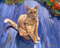 Custom cat portrait painting by Connie Bowen of Kitty, a much adored orange and white cat. Orange and white cats are so fluffy!