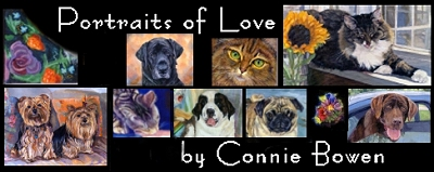 Pet Portraits of Love by Connie Bowen. Dog paintings, horse paintings, cat paintings from photos. Custom dog portraits, custom cat portraits, custom horse portraits by artist Connie Bowen